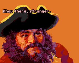 Mancomb Seepgood - piraten i The Secret of Monkey Island, baserad på skaparen Ron Gilberts utseende