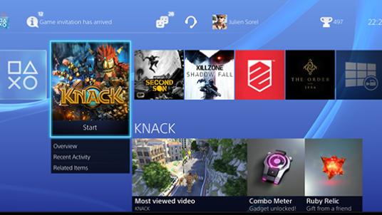Snyggt gränssnitt på PS4
