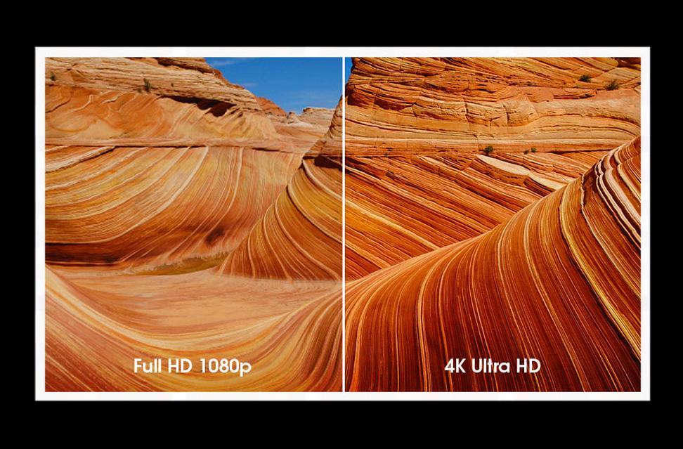 En teoretisk jämförelse av HD och 4K (bättre färger bl a). En äkta jämförelse kräver en äkta 4K-bild och 4K-källa att visa på (som de flesta av oss saknar idag)
