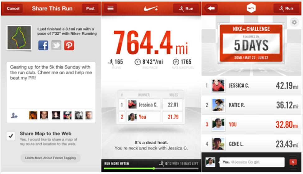 Nike+ Running App kan också ställas in på kilometer