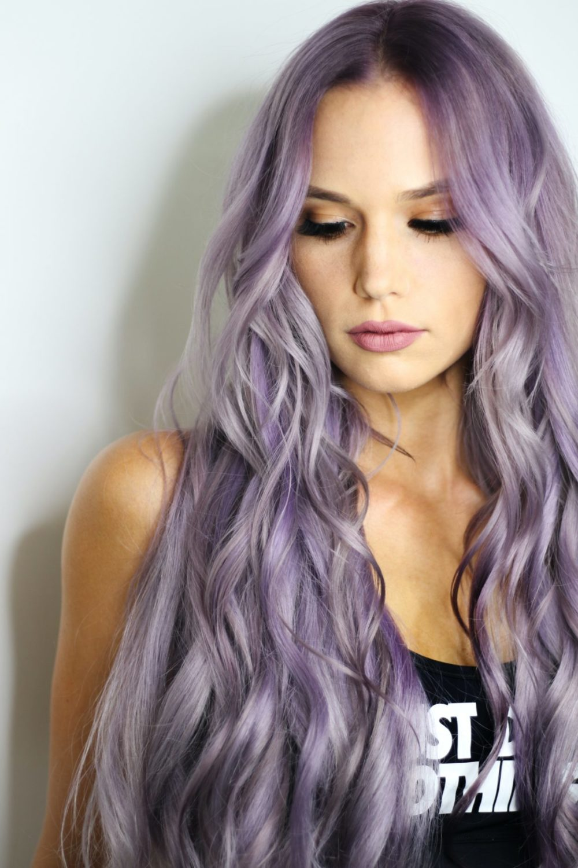 långt hår lila färgat