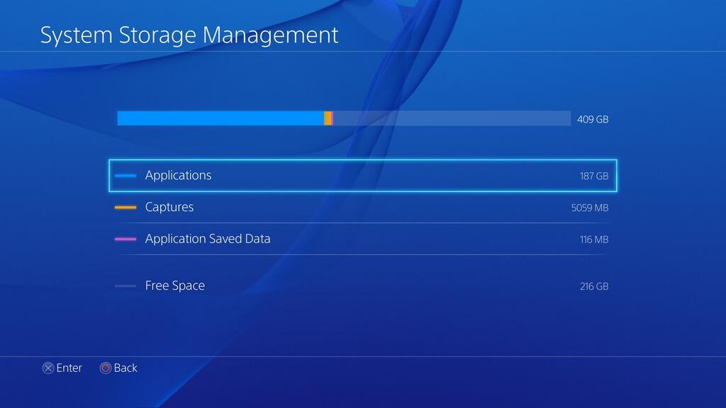 ps4 system storage kapacitet