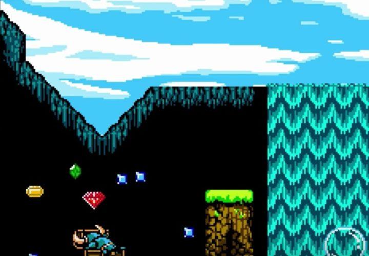 Shovel Knight rensar en skattkista på dess innehåll och juvelerna flyger ut i luften.