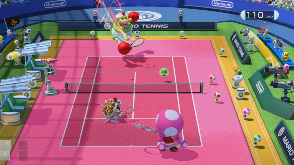 Dubbel med vänner i soffan är roligaste spelläget i Mario Tennis Ultra Smash.