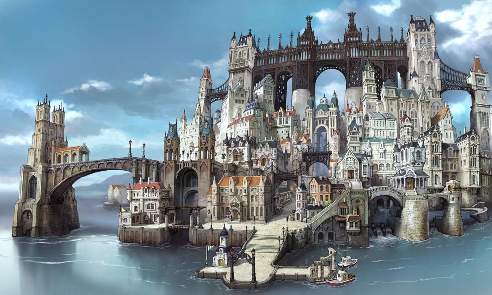 Bravely Second är riktigt snyggt och gör sig bra i 3DS:ens 3D (helhetsbild över huvudstaden)