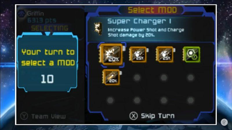 Offensiva spelare kan till exempel välja Super Charger för uppladdade skott som orsakar ännu mer förödelse. Själv är jag mer defensivt inställd och brukar välja till exempel Reinforced Plating, som gör att mech suiten tar mindre stryk.