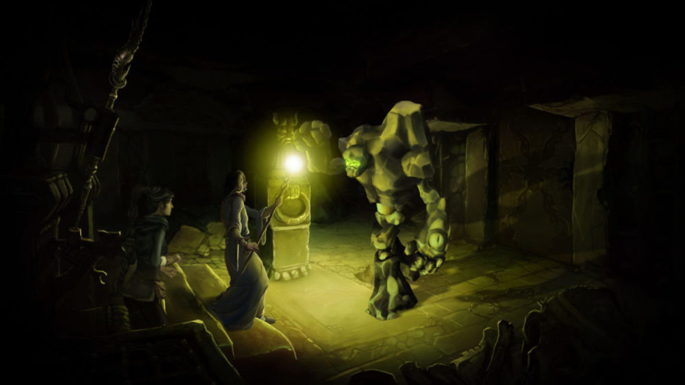 Press image: The Dark Eye - Memoria - Daedalic Entertainment - Copyright 2021 - meeting in a dark place.