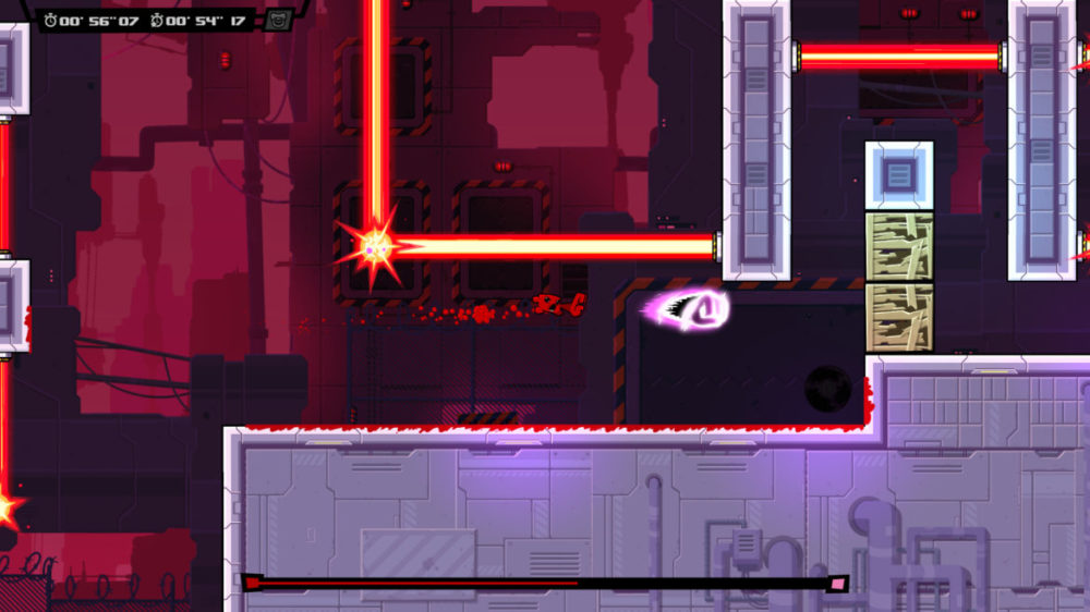 Super Meat Boy Forever - Team Meat - press image - copyright 2020 - Meat Boy avoids lasers.