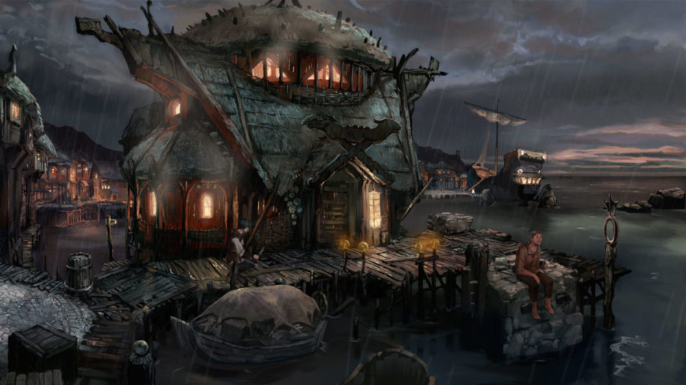 Press image: The Dark Eye - Chains of Satinav - Daedalic Entertainment - copyright 2021 - epic looking cottage by the sea