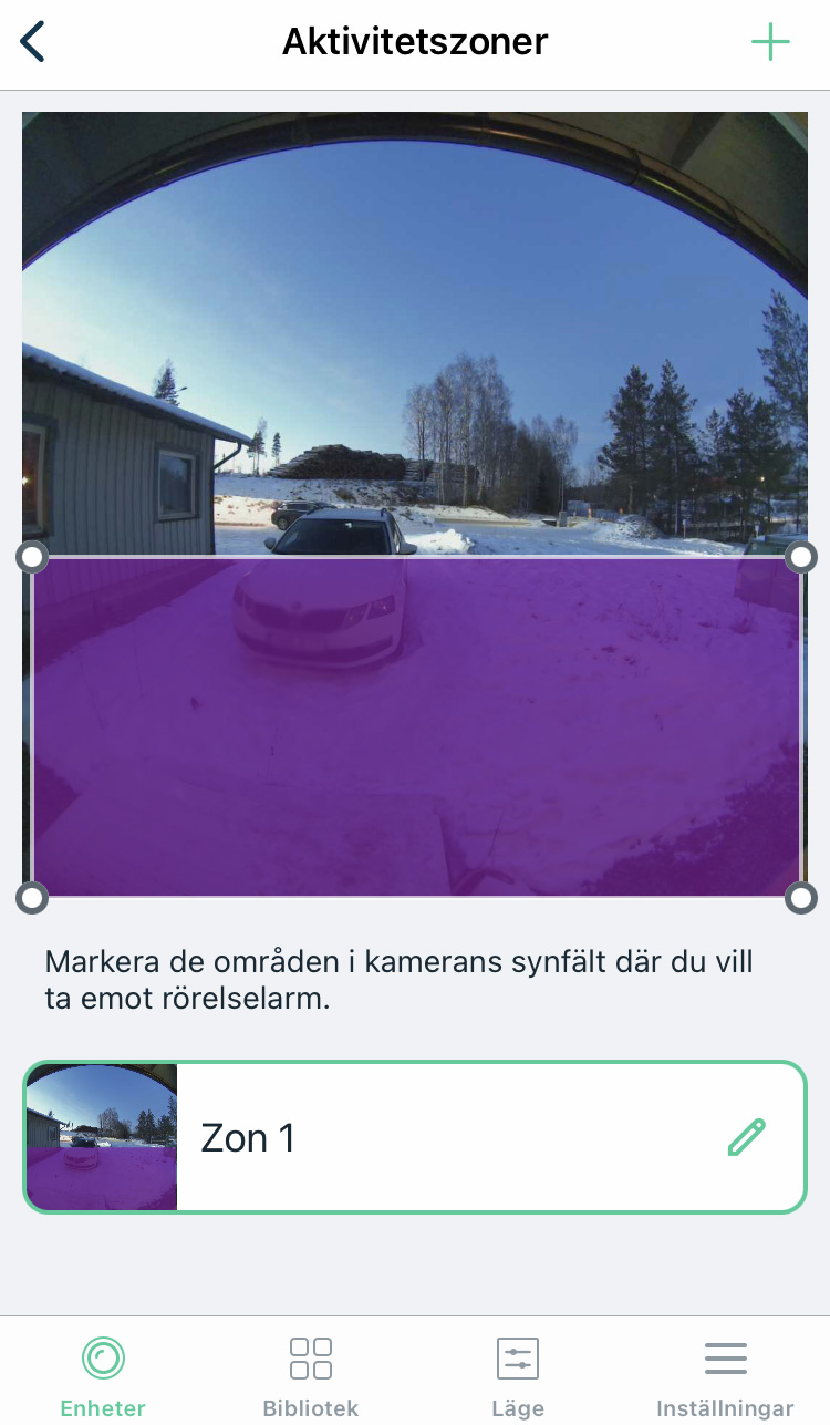 foto: senses.se - Arlo Essential - Video Doorbell Wire-free - screenshot app - aktivitetszoner