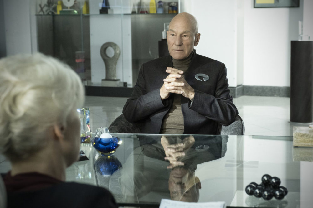 """""""Maps and Legends"""" -- Episode #102 -- Pictured: Patrick Stewart as Jean-Luc Picard of the the CBS All Access series STAR TREK: PICARD. Photo Cr: Trae Patton/CBS ©2019 CBS Interactive, Inc. All Rights Reserved."""