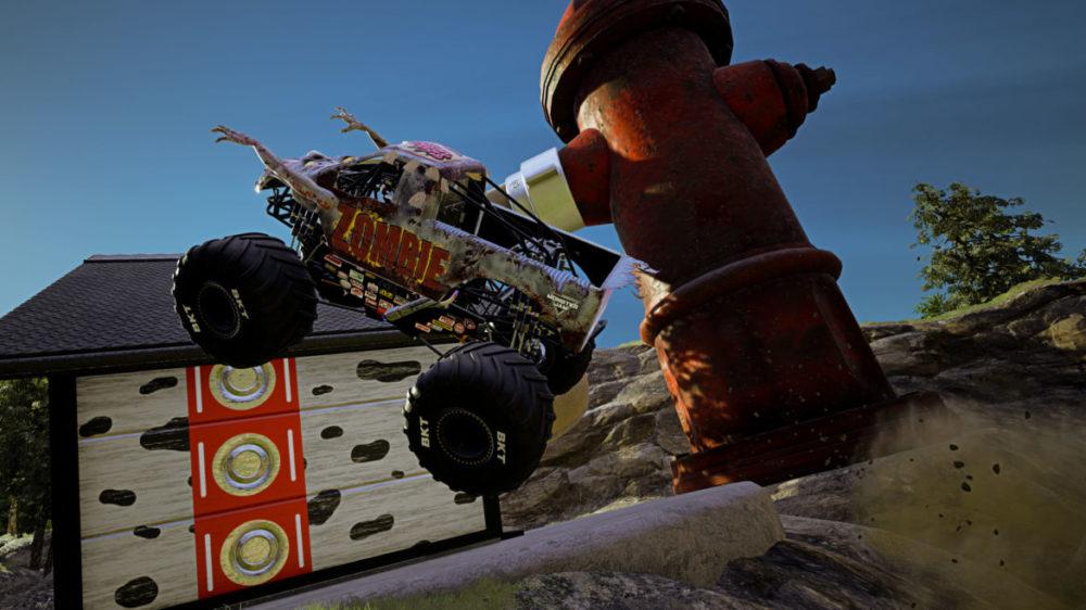 Monster Jam - Steel Titans 2 - THQ Nordic - Rainbow Studios - Press image - Copyright 2021 - Zombie Monster Truck jumps.