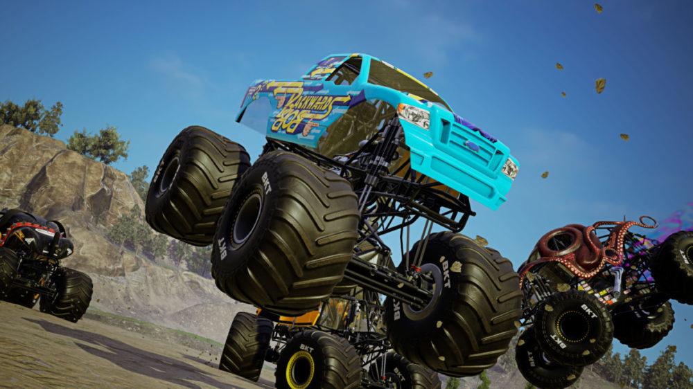 Monster Jam - Steel Titans 2 - THQ Nordic - Rainbow Studios - Press image - Copyright 2021 - Monster Trucks jumps.