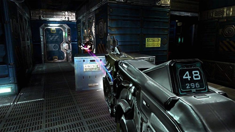 Press image: Bethesda / Playstation - Doom 3 - VR Edition - Copyright 2021 - Take aim.