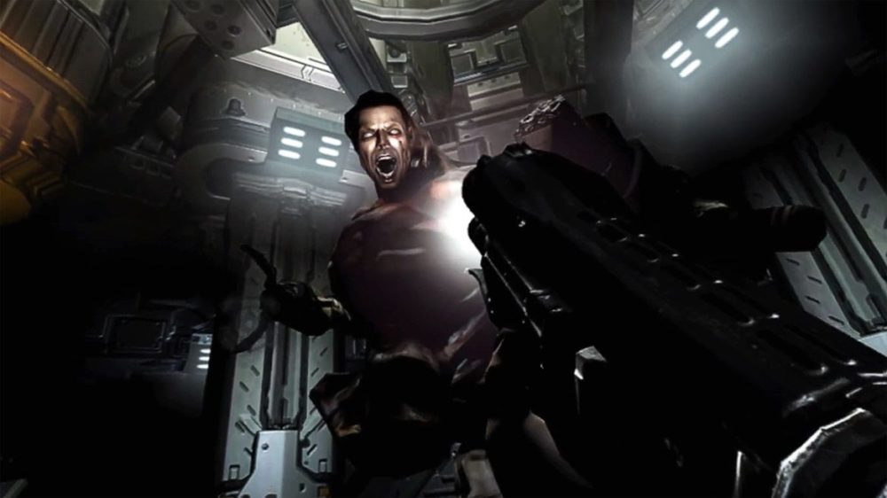 Press image: Bethesda / Playstation - Doom 3 - VR Edition - Copyright 2021 - Meeting with a human monster.