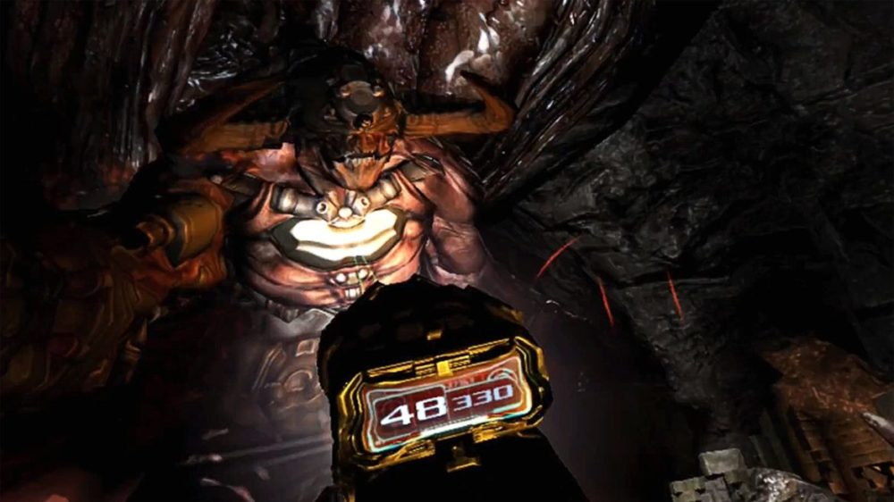 Press image: Bethesda / Playstation - Doom 3 - VR Edition - Copyright 2021 - Meeting with a monster.