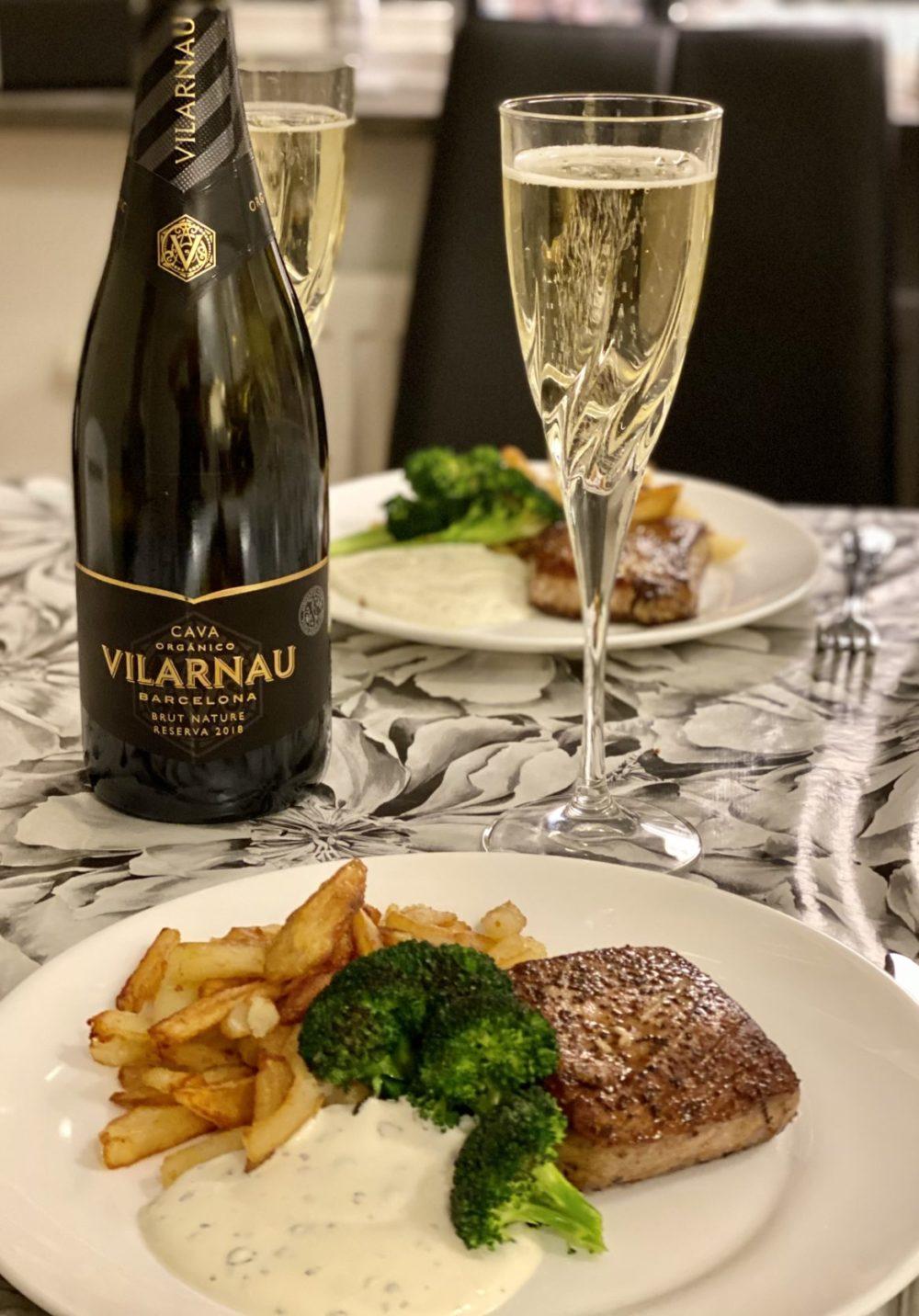 Vilarnau brut nature vintage 2018 organic tonfisk citronsås potatis broccoli senses