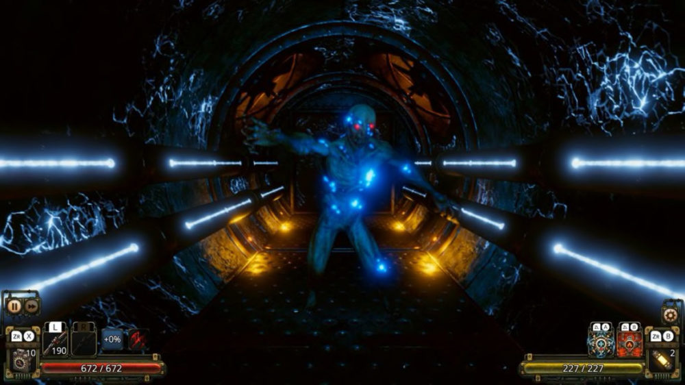 Pressbild: Fatbot Games / Nintendo.com - Vaporum: Lockdown - Copyright 2021 - Glowing enemy.