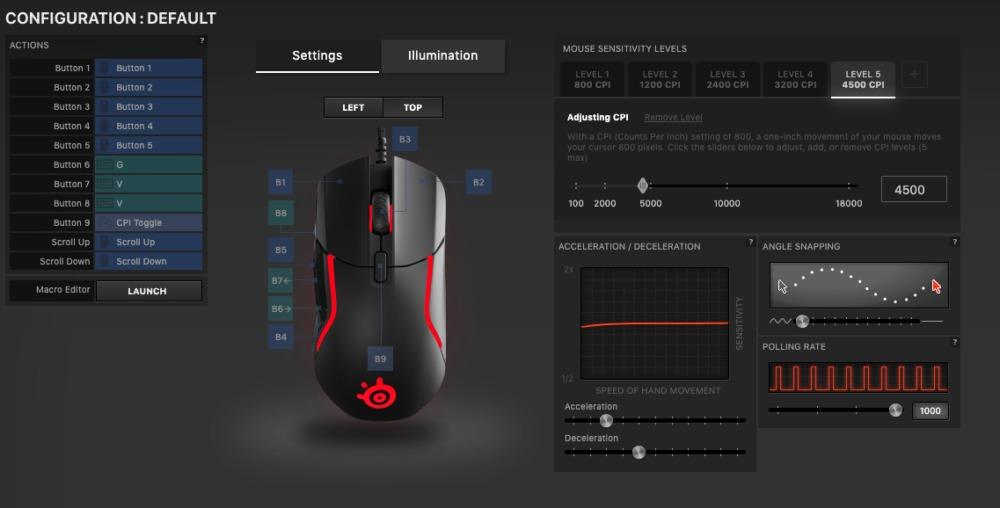 Foto: senses.se - Steelseries - Rival 5 - screenshot app.