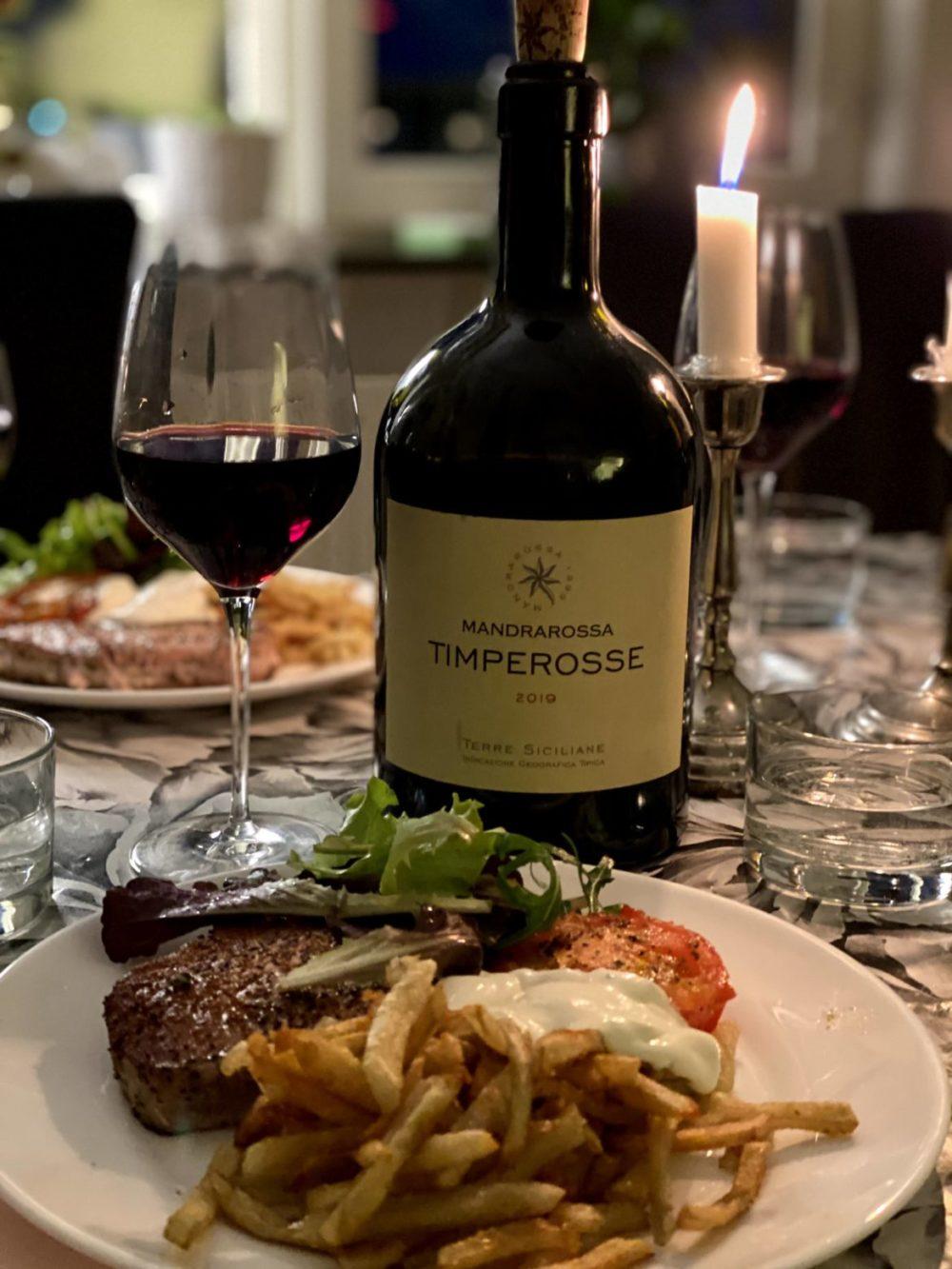 timperosse mandrarossa rött vin halstrad tonfisk