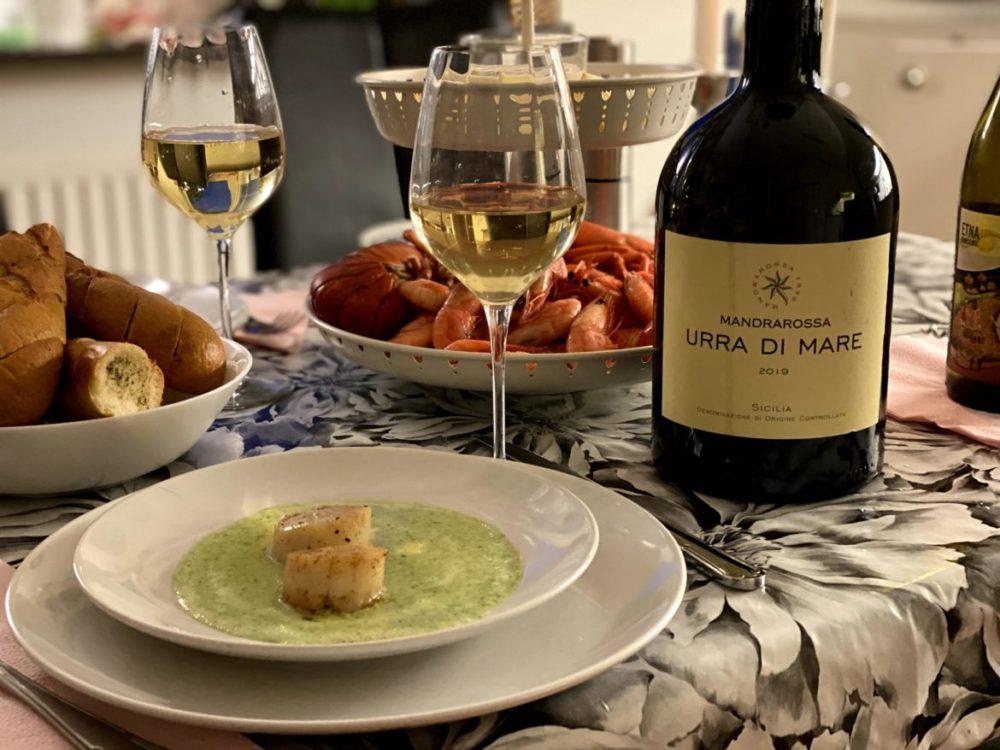Urra Di Mare vitt vin pilgrimsmusslor sicilien räkor test senses