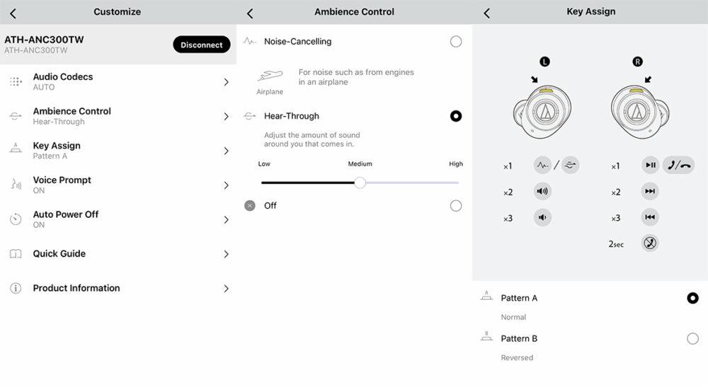 Audio-Technica - ATH-ANC300TW (TWS) - foto: senses.se - Screenshots på appen.